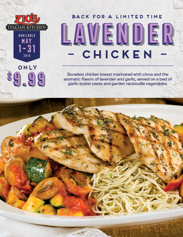 Lavender chicken back for a limited time. Available May 1-31 2019, only $9.99