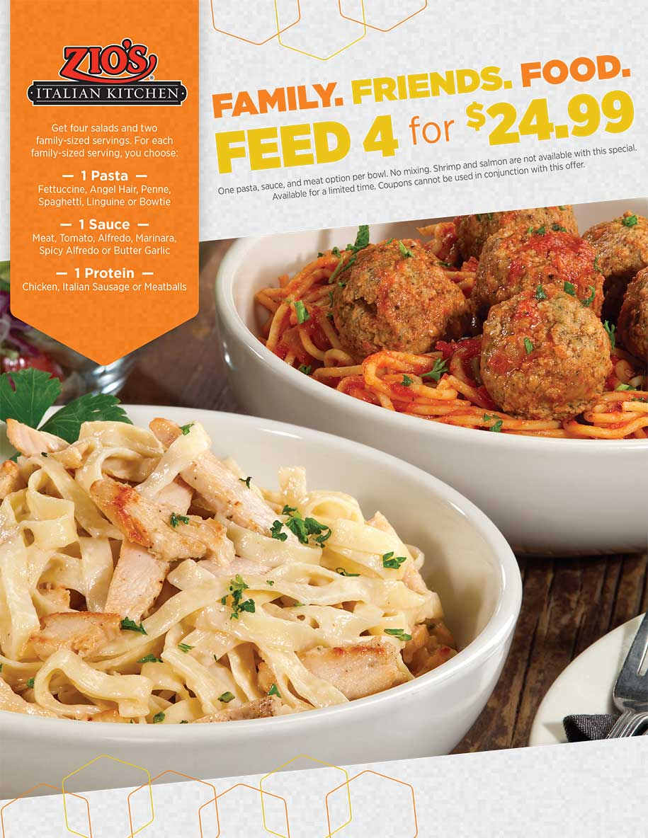 Family. Friends. Food. Feed 4 for $24.99