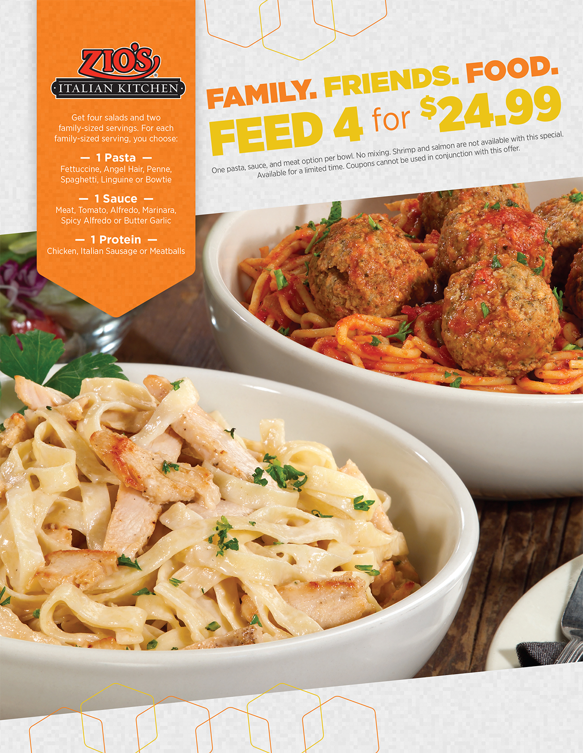 feed 4 for 2499 - Zios Italian Kitchen